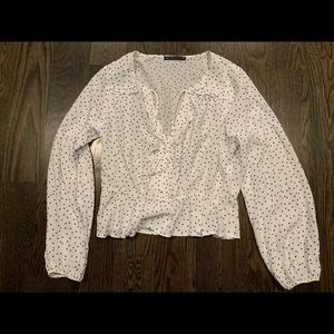 Abercrombie and Fitch white polka dot blouse